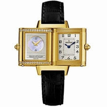 Jaeger LeCoultre Reverso - Ladies Duetto Black Band Watch