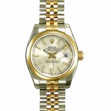 Rolex Datejust Ladies 179163 Beige Band Watch