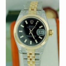 Rolex Datejust Ladies 179163 Black Dial Watch