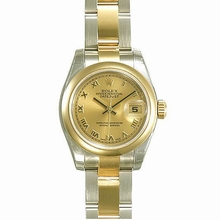 Rolex Datejust Ladies 179163 Gold Dial Watch