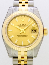 Rolex Datejust Ladies 179173 Gold Dial Watch