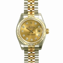 Rolex Datejust Ladies 179174 Diamond Dial Watch