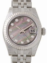 Rolex Datejust Ladies 179174 Grey Dial Watch
