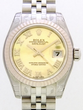 Rolex Datejust Ladies 179174 Yellow Dial Watch