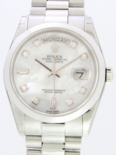 Rolex President Men's 118206 White Dial Watch
