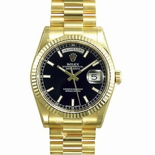 Rolex President Men's 118238 Black Dial Watch