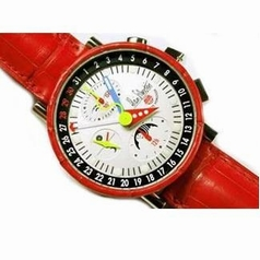 Alain Silberstein Alligator Collection Krono B 2 Cuir Red Mens Watch