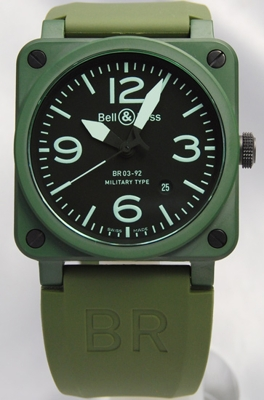 Bell & Ross BR03 BR03-92-MilitaryCERAMIC Mens Watch