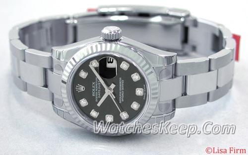 Rolex Datejust Ladies 179174 Black Dial Watch