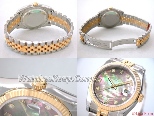 Rolex Datejust Men's 116233 Yellow Gold Bezel Watch