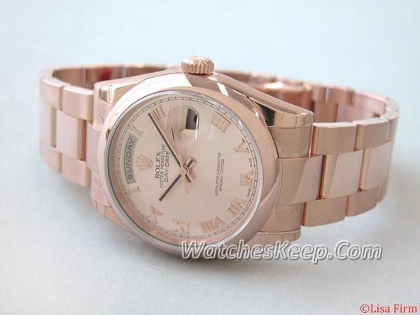 Rolex President Men's 118205 Rose Dial Watch